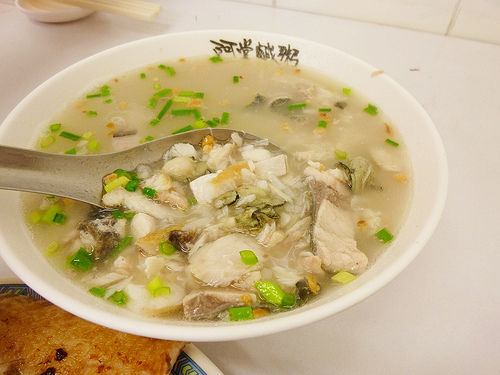 http://teczcape.blogspot.com/ Seafood combination (oyster, milkfish, flaked pan-fried milkfish) porridge